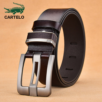 CARTELO alloy Men's leather pin buckle genuine jeans belt fashion business cow genuine leather quality leather belt men male 2018 genuine cow leather men