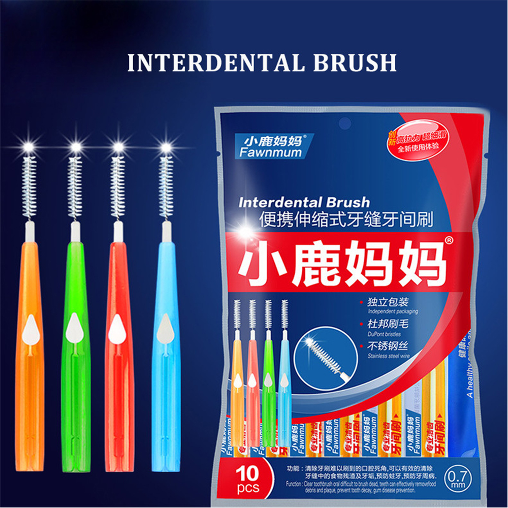 10pcs 0.6mm-1.2mm Gum Interdental teeth stick Brush oral care between tooth cleaning toothpick interdental brush dental tool