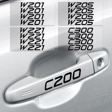 Pegatinas reflectantes para manija de puerta de coche, calcomanía de espejo para mercedes-benz AMG W108 W124 W126 W140 C200 C260 C300, accesorios, 4 Uds.