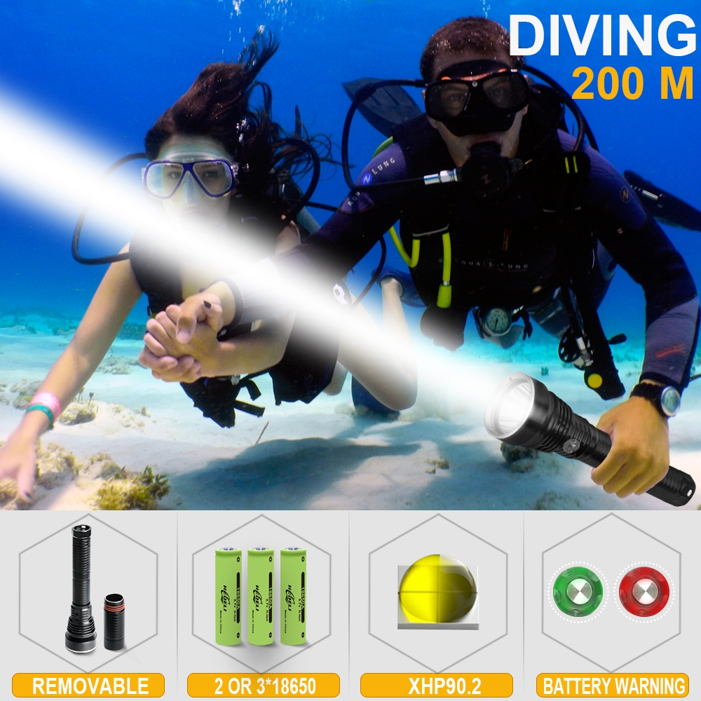 200m Profession Xhp90 Led Diving Flashlight XHP70 Led Dive Torch IXP8 Flashlights For Diving 26650 18650 Deep Sea Lantern Torch