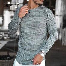 Casual manga longa xadrez impressão t camisa masculina outono moda o pescoço pulôver 2021 primavera masculino plus size listrado topo t streetwear