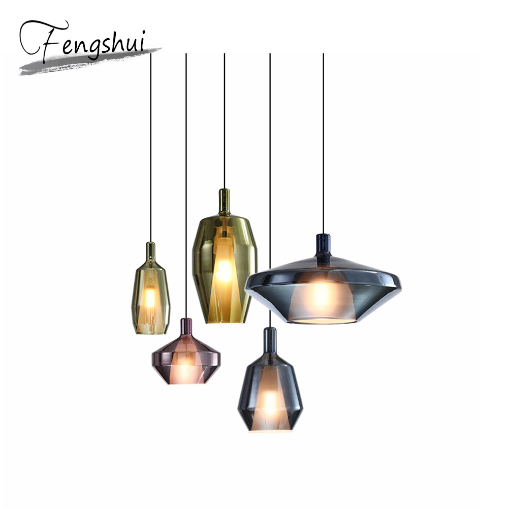 Nordic Iron Glass Pendant Lights Lighting Industrial Pendant Lamp Dining Living Room Bedroom Restaurant Home Decor Hanging Lamp