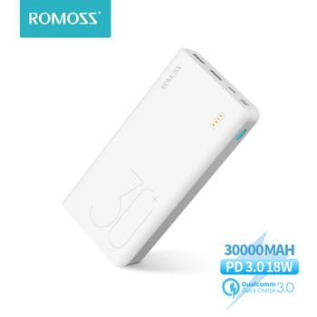ROMOSS Sense 8 + Power Bank 30000 mAh QC PD 3 0 szybkie ładowanie Powerbank 30000 mAh przenośna zewnętrzna ładowarka do Xiaomi Mi tanie i dobre opinie Bateria litowo-polimerowa Z lampką LED Podwójny USB USB typu C CN (pochodzenie) Micro Usb Oświetlenie Z tworzywa sztucznego