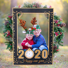 2020 Happy New Year Photobooth Props Gold Black Photo Booth Xmas Paper Photo Frame Christmas Decorations Navidad Party Supplies цена 2017