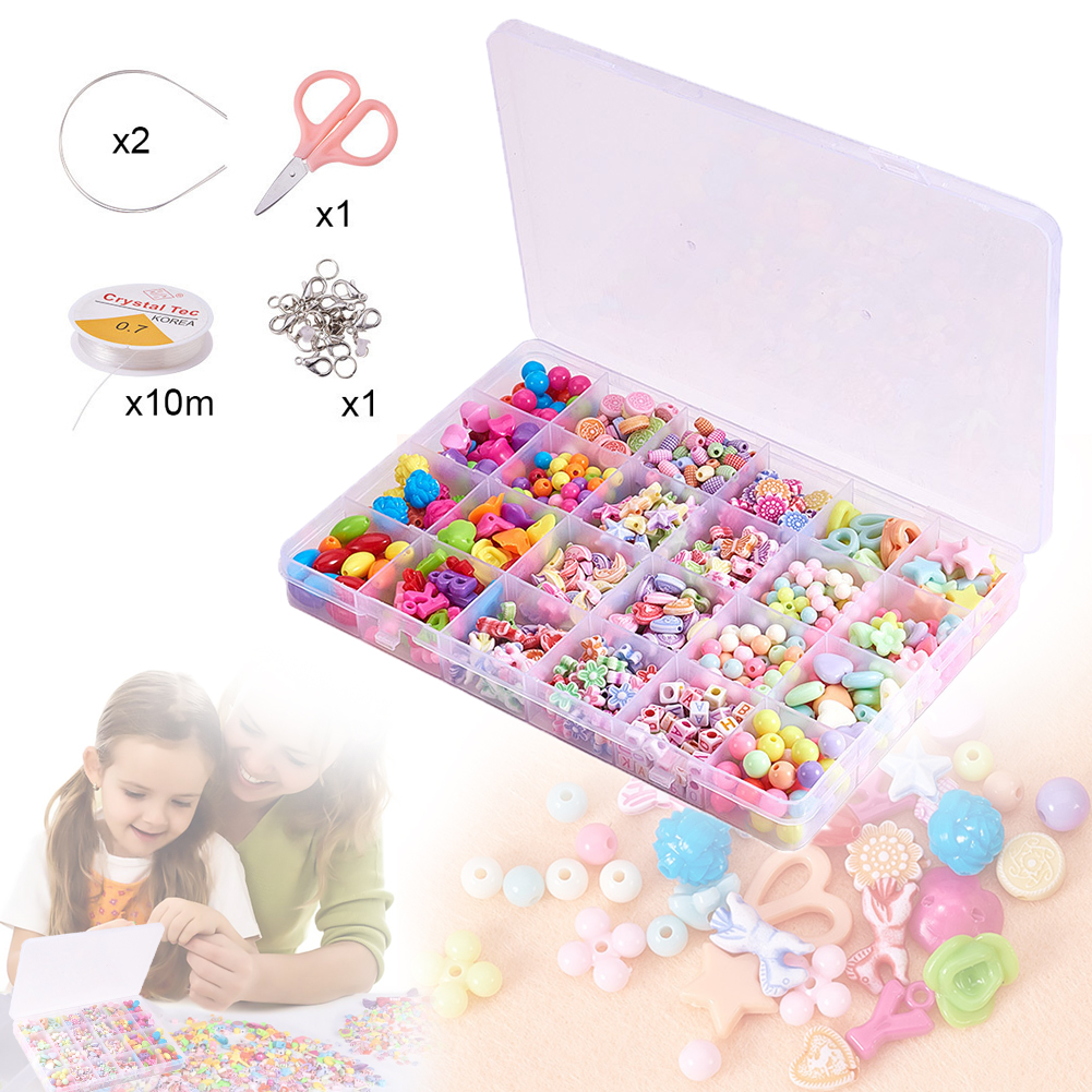 DIY Colorful Beads Toys Set Jewelry Accessories Puzzle Handmade Crafts Education Kid Toy Materials Bracelet Necklace Accessories