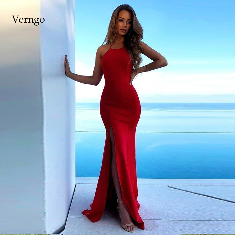 Verngo   Evening     Dresses   Long Formal   Dress   With Slit Sexy   Dress   Party Mermaid   Evening     Dress   Vintage Red Vestidos Elegantes