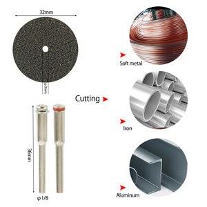 Image 5 - 32 sztuk zestaw brzeszczotów tarczowych HSS Mini żywiczne tarcze tnące diamentowe tarcze tnące narzędzia obrotowe akcesoria do Dremel Wood Plastic