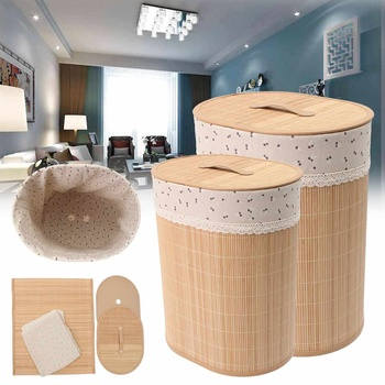 Household Bamboo Laundry Basket Clothes Toy Storage Folding Hamper Sorter Bin Organizer Laundry Hamper Bucket Collapsible Box 1