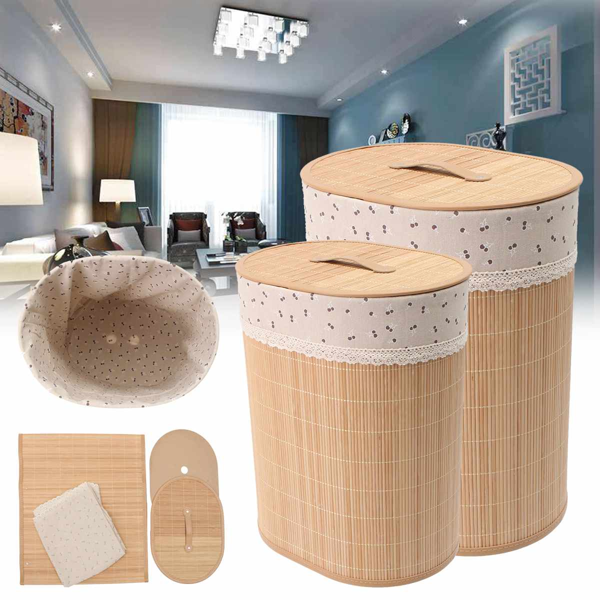 Bamboo Laundry Basket Made of Bamboo And Cloth Material For Storing Cloth