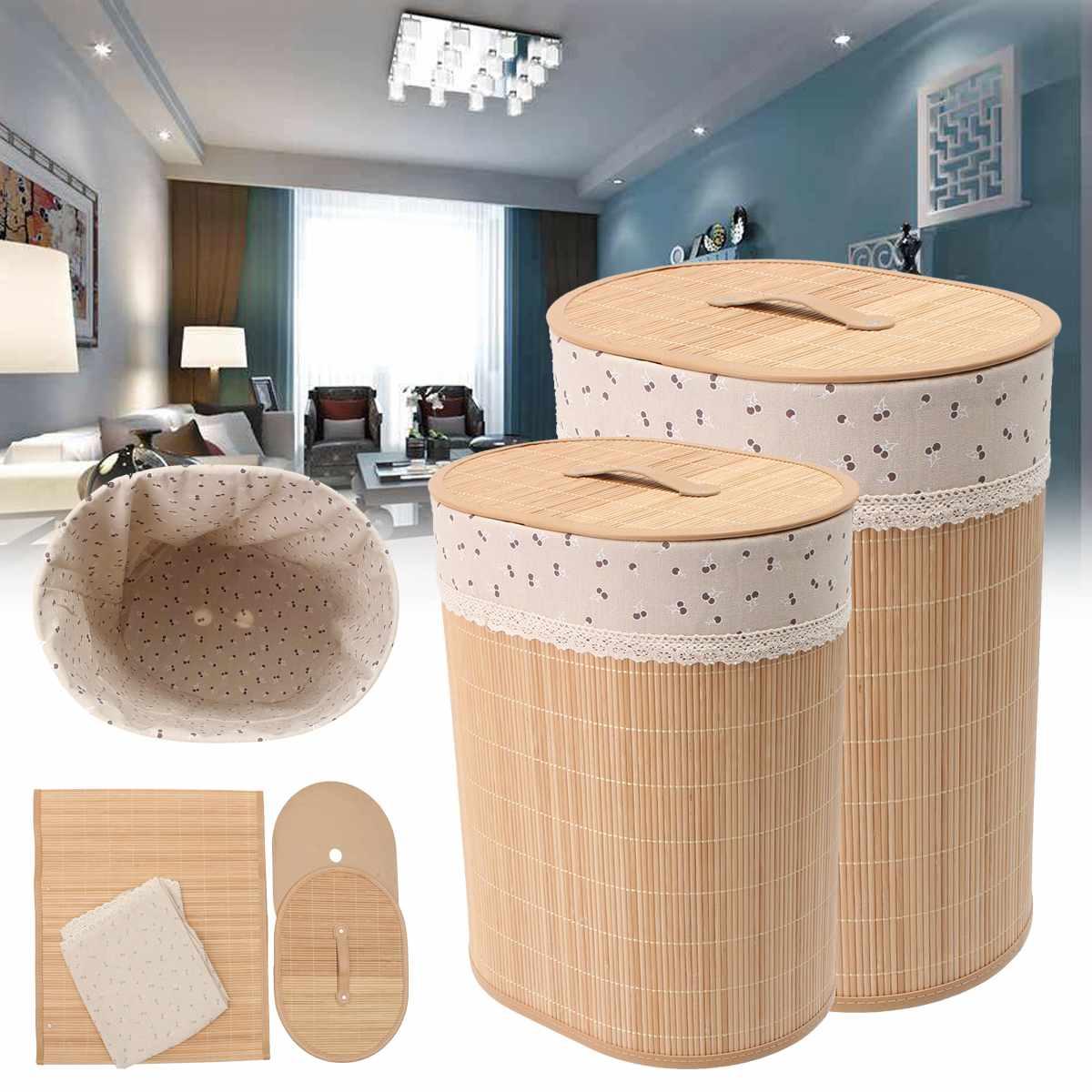 Household Bamboo Laundry Basket Clothes Toy Storage Folding Hamper Sorter Bin Organizer Laundry Hamper Bucket Collapsible Box