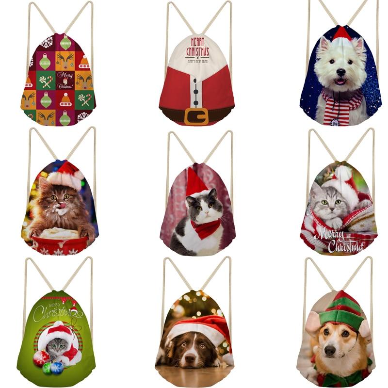 Large Christmas Gift Bags 3D Cat Dog Print Backpack Kids Drawstring Bag Children String Backpacks For Boys Girls Beach Shoes Bag