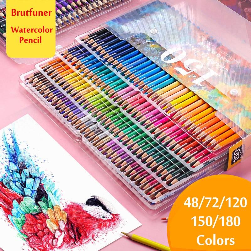 Brutfuner 48/72/120/150/180 WaterColor Pencils Wood Colored Pencil Set Lapis De Cor Painting Gifts For Kids Art School Supplies