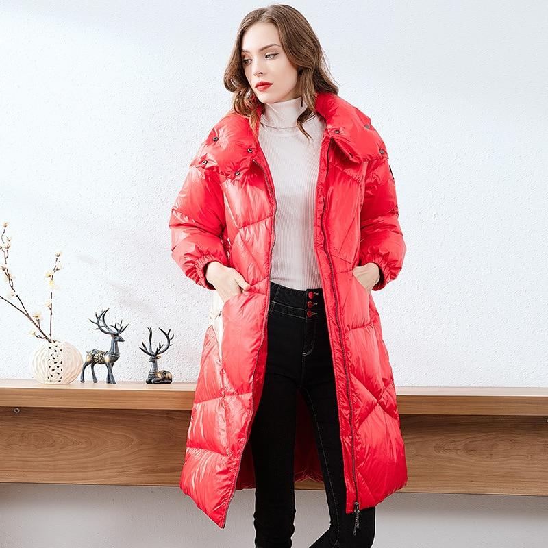 Новинка зимы 2019, женские плотные повседневные Лоскутные прямые однобортные белые пуховые пальто с длинным рукавом, куртки с меховым