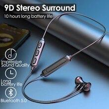 Magnético sem fio bluetooth 5.0 fones de ouvido neckband estéreo esportes fone handsfree fones com microfone para todos os telefones