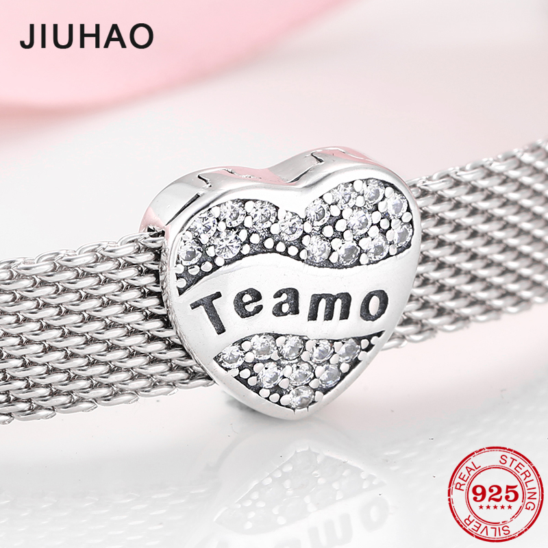 High Quality 925 Sterling Silver Full Of Love Gift Te Amo Heart Clip Beads Fit Reflection Bracelet For Women Jewelry Making