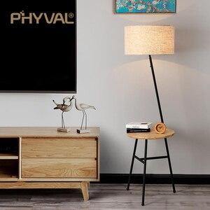 Image 4 - Lámparas de pie de madera de estilo nórdico, accesorio de iluminación minimalista, para sala de estar, dormitorio, lámpara de pie, interruptor de botón de tela
