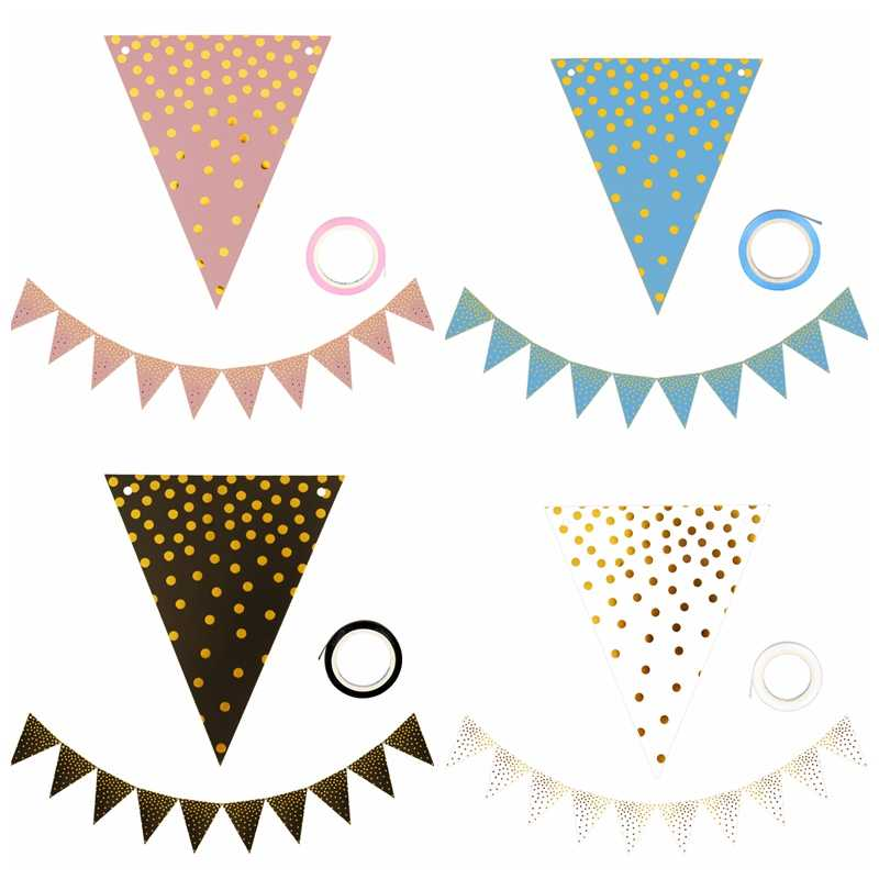 10 Flags 18cm Pink Gold Garlands Birthday Bunting Banners Pennant Baby Shower Wedding Garland Flags Party Decoration Supplies