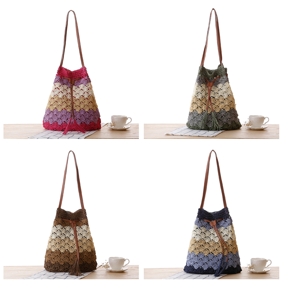 Retro Fashion Summer Woven Rattan Drawstring Bags Shoulder Bag Tassel Hollow Color Block Beach Straw HandBags Handmade Crossbody