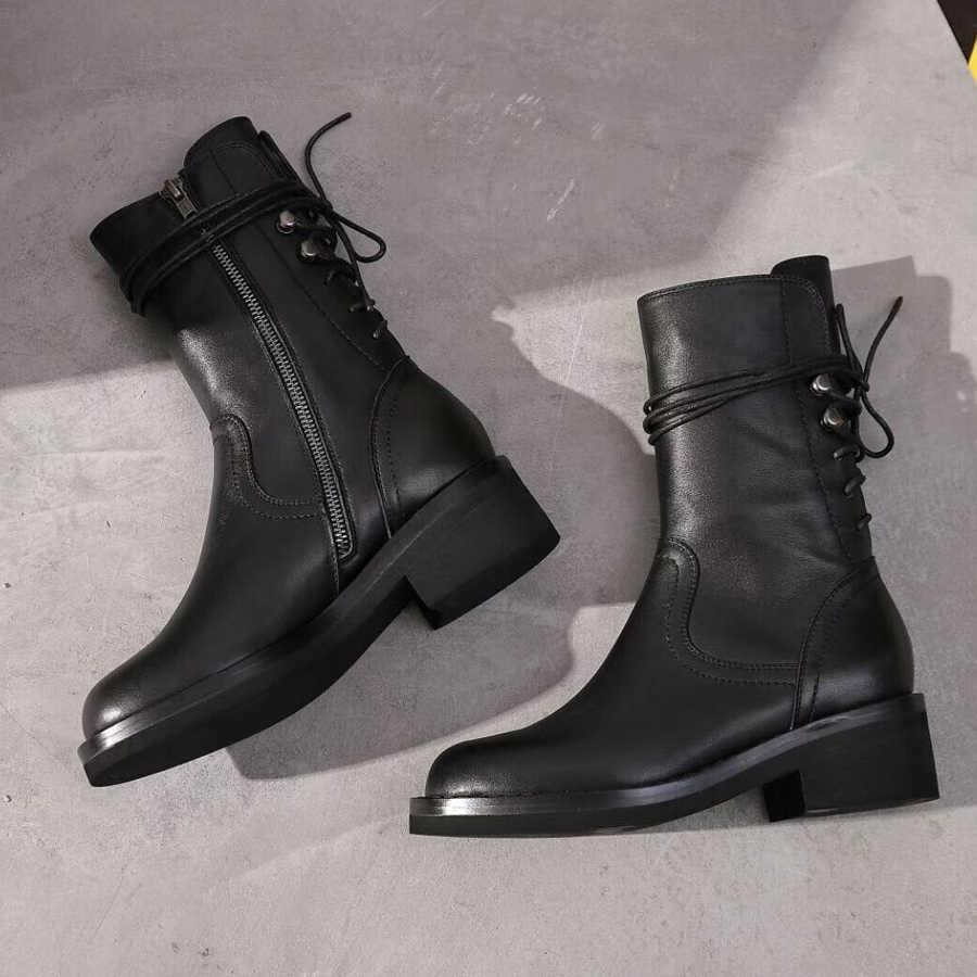 JAWAKYE Siyah arka ayak bileği bağcığı Botları Kadın Kare Topuk Düz Motosiklet Botları Hakiki Deri Kış Ayakkabı Kadın Botas Mujer
