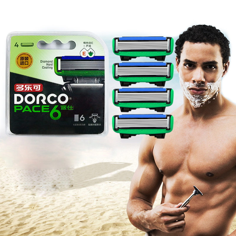 High-quality Genuine Original Dorco Pace 6 Men Manual Razor Blades 6-Layer Blade Stainless Steel Blades Shaver Replacement 4 Pcs