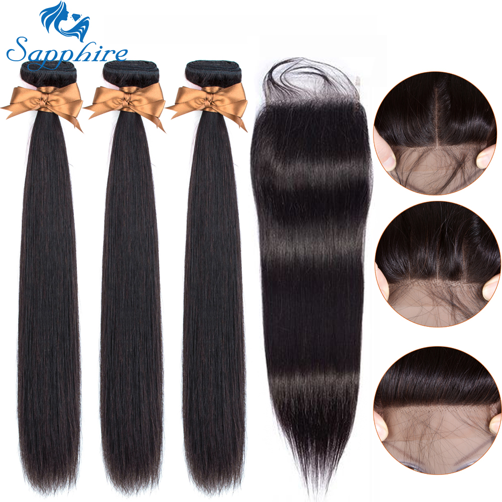 Sapphire Straight Hair Bundles With Closure Transparent Peruvian Hair 3 Bundles With Closure 100% Human Hair Bundle With Closure