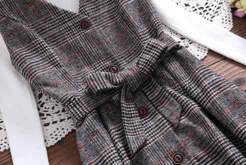 森ガール冬ドレス新ファッション女性ノースリーブベスト V ネックウールヴィンテージドレス女性スリムウエストロングサンドレス LJ129