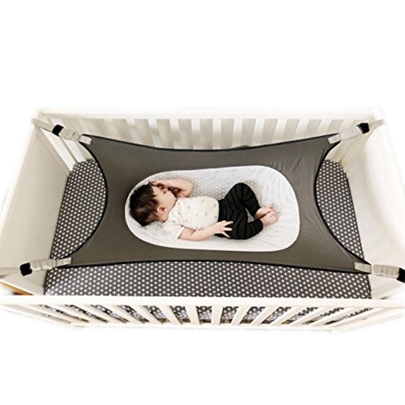 H0ef2c45ca2104d18bd1ca50dd84f28b48 Infant Baby Hammock For Newborn Kid Sleeping Bed Safe Detachable Baby Cot Crib Elastic Hammock With Adjustable Net Portable