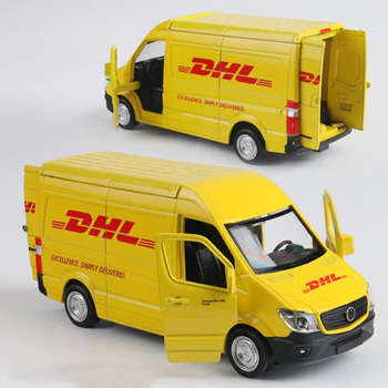 15CM 1/36 skala zabawki metalowy samochód stopu Commerical pojazdu ekspresowe DHL wycofać Diecasts model ciężarówki zabawki F kolekcja dla dzieci