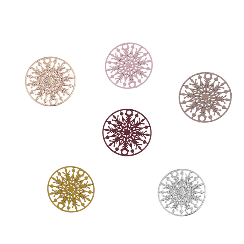 DoreenBeads Copper Filigree Stamping Connectors Round Colorful Christmas Snowflake Jewelry DIY Findings Charms 20mm Dia., 10 PCs