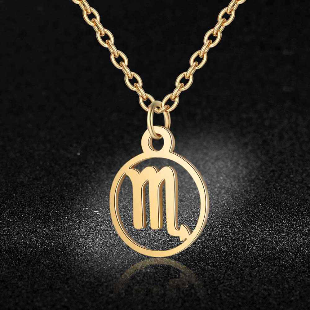 100% Stainless Steel Zodiac Symbol Charm Necklace Vnistar Simple Design Horoscope Pendant Necklaces Zodiac Women's Necklace