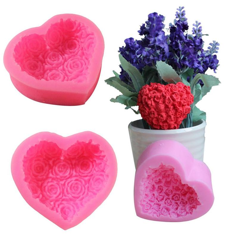 1PC 3D Love Heart Rose Flower Shape Silicone Mold Fondant Cake Chocolate Moulds Decorating Baking Tools Soap Mold