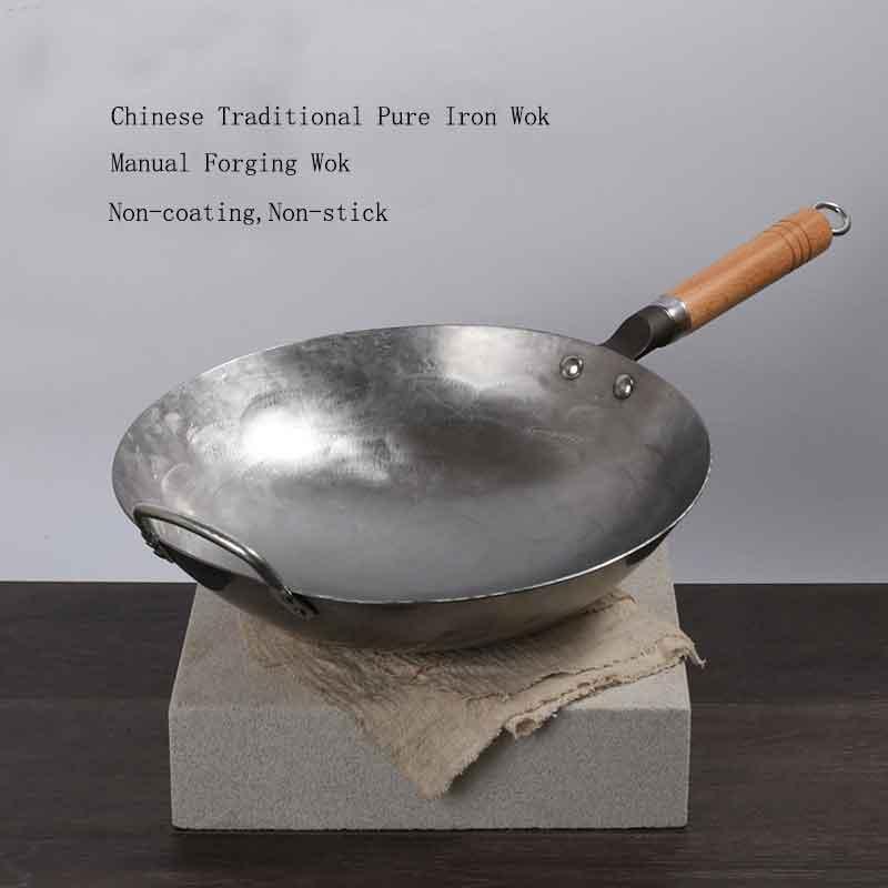 Ferro chinês tradicional wok artesanal grande aço