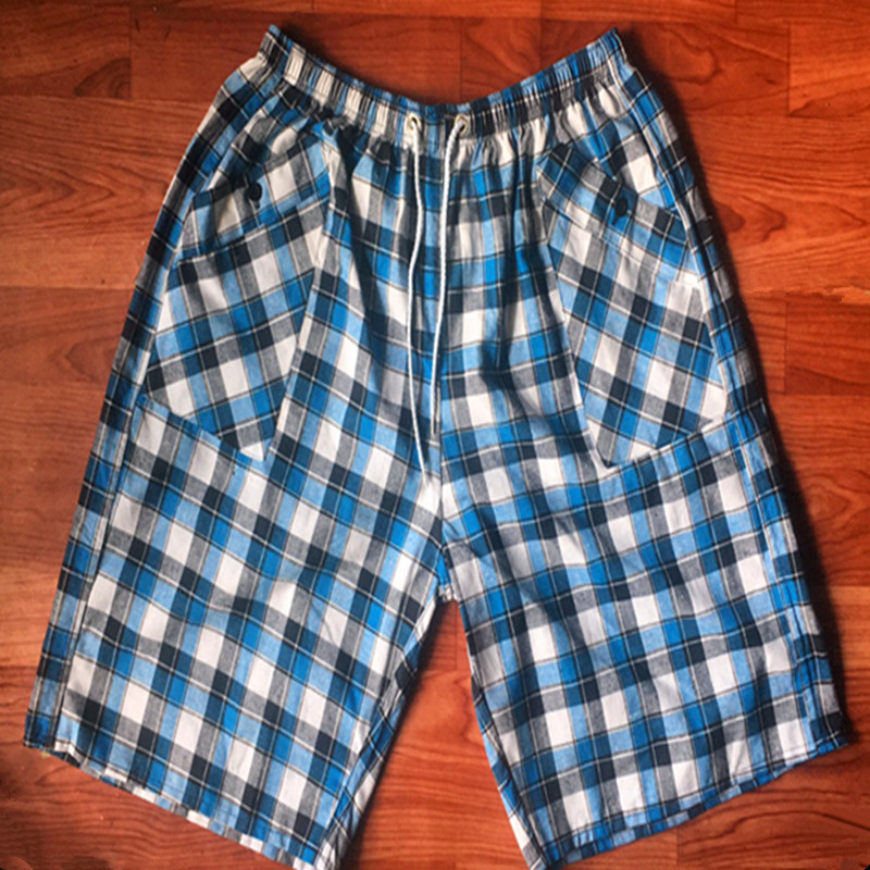 Cotton Plaid Beach Shorts Men's Casual Large Size Lard-bucket Trunks Supermarket Booth Goods