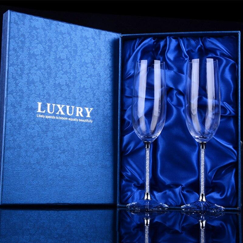 Créatif avec diamant Champagne verre gobelet cristal rouge vin verre ensemble lettrage personnalisable cadeau de mariage en gros