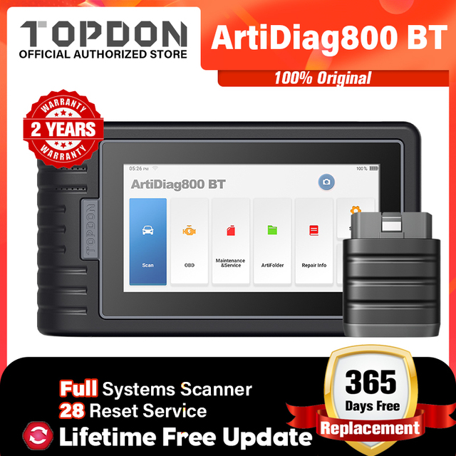 Topdon ArtiDiag800 btカー診断ツール自動車用スキャナー自動スキャンツールbluetoothすべてのシステム28リセット機能pk MK808BT