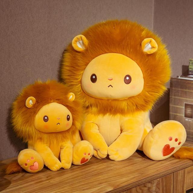 25/40cm Golden Adorable Lion Toy Plush Stuffed Sitting Lions Little Zoo Animal Cute Cartoon Plushie Children Appeasing Gift 1