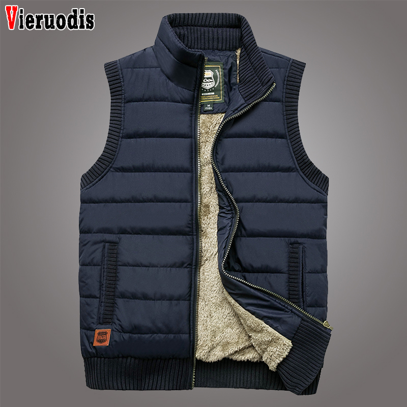 Male Waistcoat Multi Many Pocket Vest Winter Fleece Thick Warm Vest Newest Men Large Size 5XLCasual Outwear Sleeveless Jacket