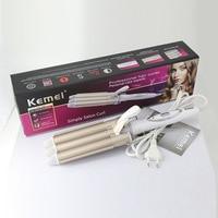 Kemei Professional Curling Iron Ceramic Hair Curler Triple Barrel Electric Curling Hair Styler Hair Waver Styling Tools 110-220V 6
