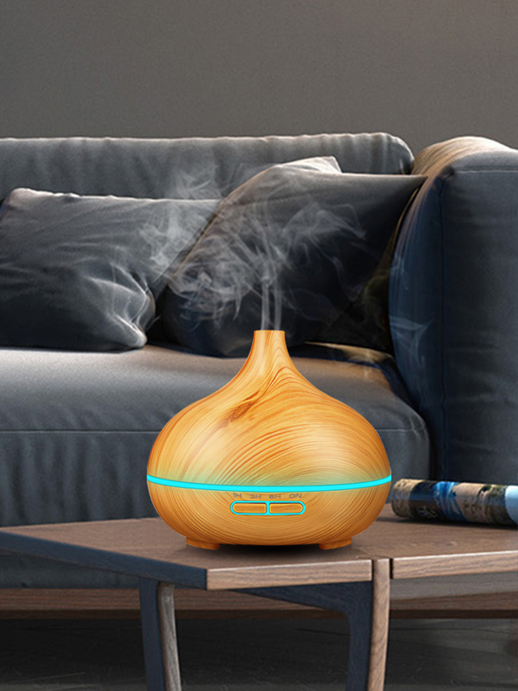 KBAYBO Air-Humidifier Essential-Oil-Diffuser Electric-Mist-Maker Led-Lights Wood-Grain