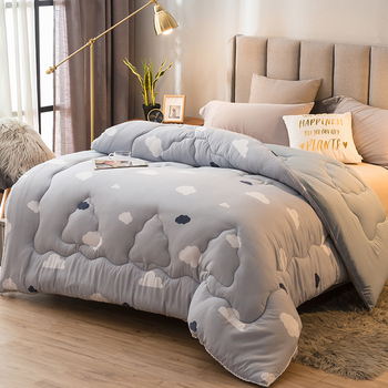 220*240cm Home Bedding High Grade Winter Comforter Pure Color Style Warm And Thicken Duvet 100% Washed Cotton Soft Quilt