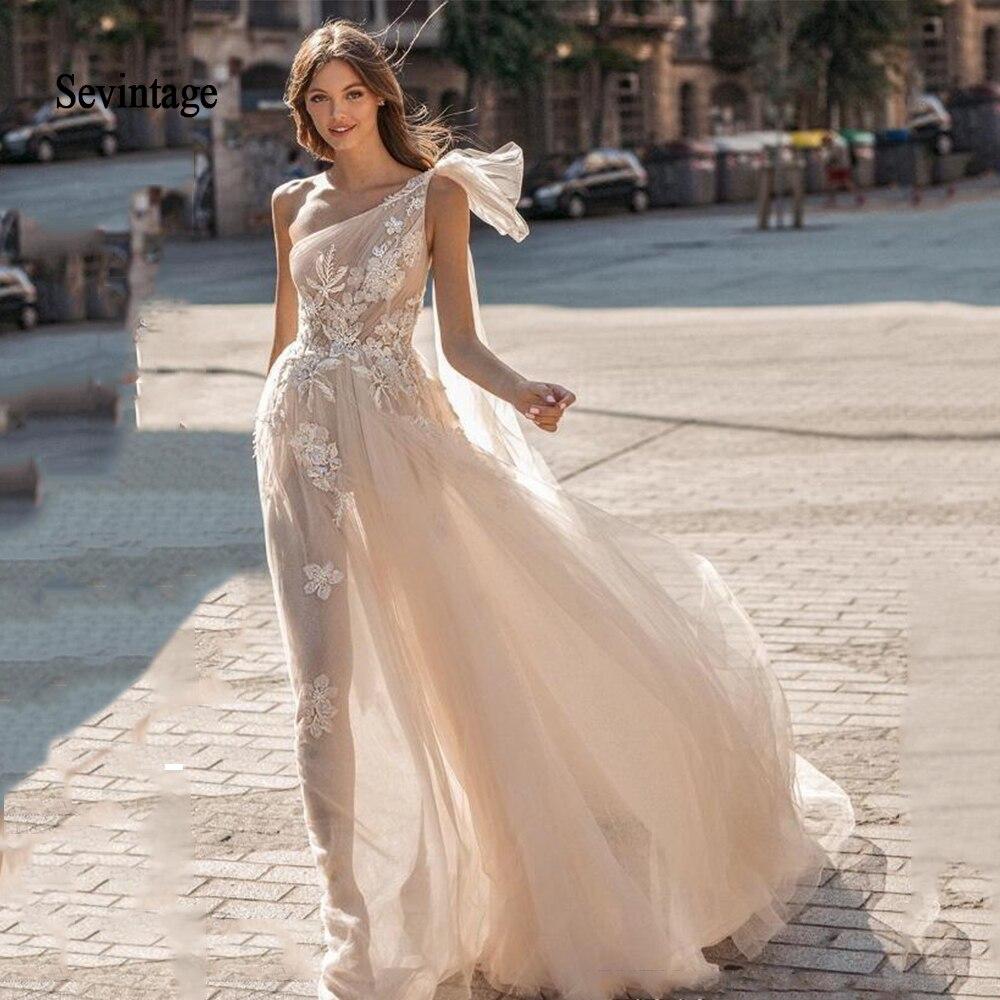 Sevintage Berta Bohemian Wedding Dresses Boho Lace Appliqued Wedding Gowns One Shoulder Beach Bridal Gown Vestido De Novia