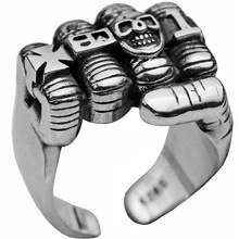 Mens Fashion Punk Rock 316L Stainless Steel Biker Skull Fist Ring Gothic Cross Ring classic ring men s stainless steel ring rotatable ring bible verse ring bible verse cross ring