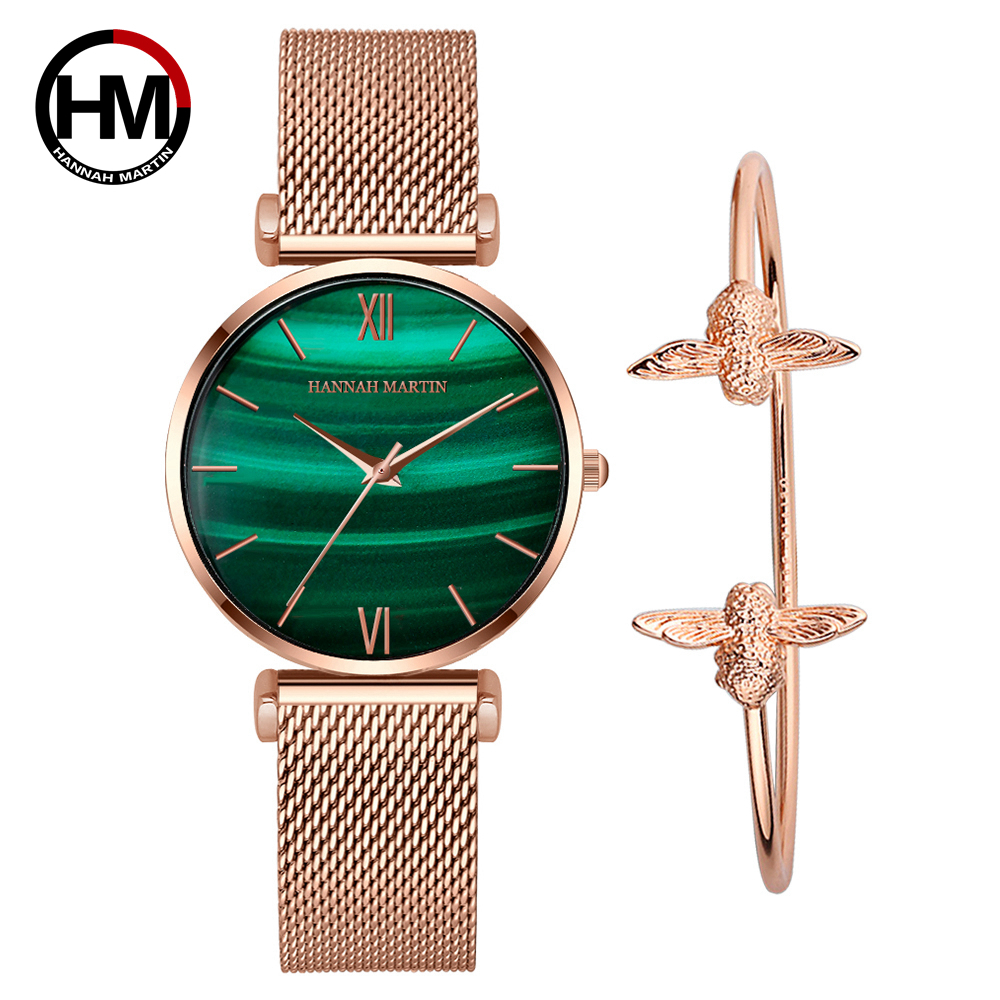 Original Women Watches Fashion Japan Quartz Movement  Relogio Feminino Emerald Stainless Steel Rose Gold Waterproof WristWatches