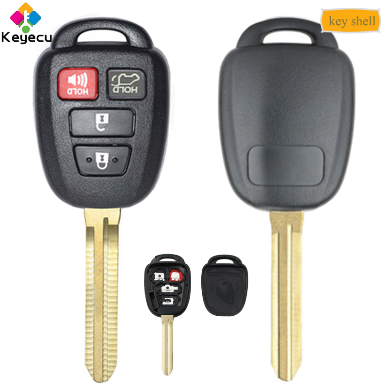 KEYECU Remote Car <font><b>Key</b></font> Shell <font><b>Case</b></font> With 4 Button TOY43 Blade FOB for <font><b>Toyota</b></font> <font><b>Rav4</b></font> Highlander 2013 <font><b>2014</b></font> 2015 2016 2017 2018, GQ4-52T image
