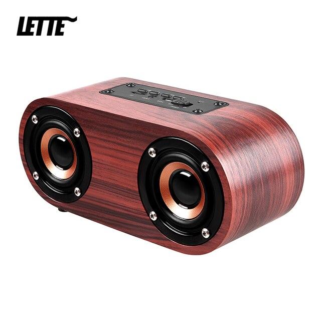 HIFI Wooden Bluetooth Speaker AUX Input TF Card Playback Wireless Subwoofer Portable Bass Column