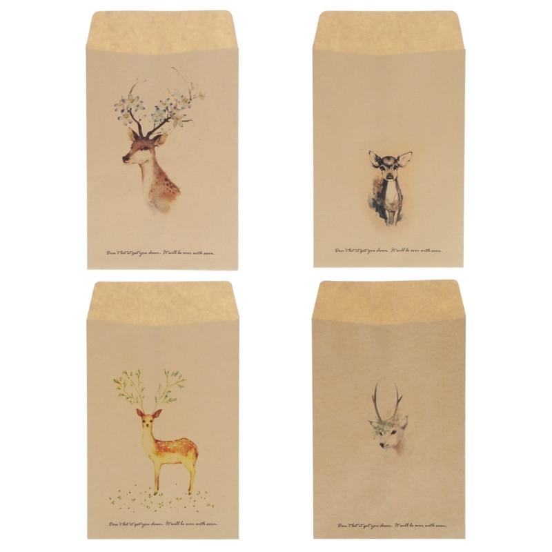 12Pcs Vintage Deer Mini Paper Envelope European Style Card Scrapbooking Gift New