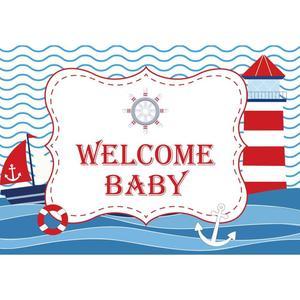 Image 3 - Allenjoy Ravy רקע מסיבת יום הולדת נושא ים יילוד תינוק מקלחת כחול פסים עוגן Photophone רקע עבור שיחת וידאו