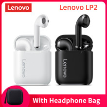 Lenovo lp2 wirless bluetooth 5.0 fones de ouvido estéreo baixo controle toque sem fio esportes fones à prova dmic água microfone