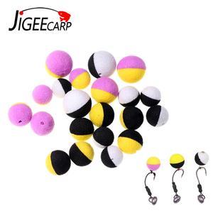 JIGEECARP 10/12PCS Carp Fishing Boilies Bait Foam Pop Up Boilies Ball Resembling Carp Hair Zig Rig Feeder Method Fishing Lures(China)
