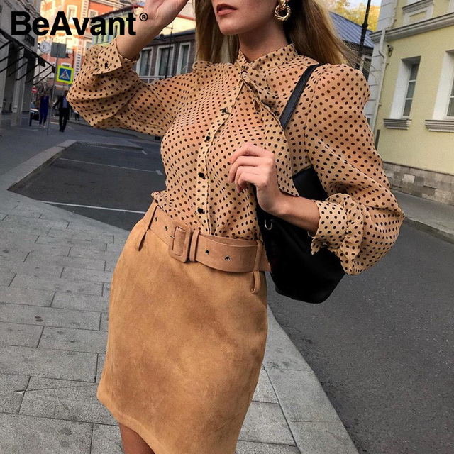 BeAvant Polka Dot Ladies OL Blouses Spring Long Sleeve Neck Tie Chiffon Blouse Shirts Elegant Women 2020 Casual Blusa Tops Chic